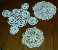 Vintage Lot of 3 White, Cream Hand Crochet Doilies