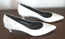 CELINE WHITE STUD POINTY PUMP LEATHER SHOES SIZE 38