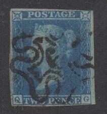 Vic - 1841. 2d azul con cruz de Malta numeral 6. ejemplo de margen 3. Cat £ 700.