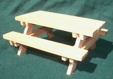 Handmade Dollhouse Miniature Cedar Wood Picnic Table with Benches - Clear Finish