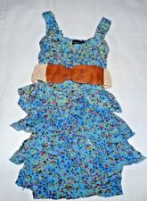 RUBY ROX SUMMER SPRING FLORAL DRESS WOMEN'S PETITE 0 3 FREE SHIPPING BLUE