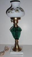 Vintage - Emerald Glass, Brass, marble Student/Desk Lamp with Hand Painted Shade