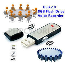 8GB DIGITAL VOICE AUDIO RECORDER DICTAPHONE USB MEMORY STICK ALLOY BLACK
