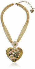 BETSEY JOHNSON QUEEN BEE LARGE PAVE HEART PENDANT, MSRP $95