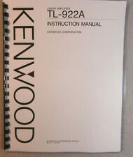 "Kenwood TL-922A Instruction Manual: 11"" x 17"" Foldout Schematic & Plastic Covers"