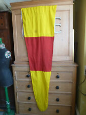 Vintage long triangular naval flag - red/yellow