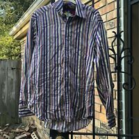Robert Graham Size XL Shirt Mens Button Up Purple Stripe Flip Cuff Colorful Top