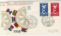 France 1958 Europa Cogs Picture Bird Slogan Cancels + Stamps FDC Cover Ref 29868