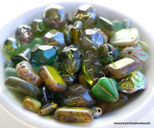 Czech Picasso Olivine Green Bead Soup Mix - Picasso Czech Glass Beads 30 grams
