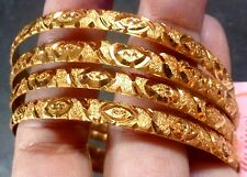 4 Pcs Indian 22K Gold Plated Indian Bangles Bracelet Churi Wedding 2.8'' g