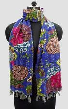 5 Pc Lot Indian Vintage Kantha Handmade Scarf Fashion Bandana Cotton Stole Scarf