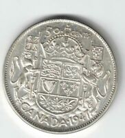 CANADA 1947 C7 50 CENTS HALF DOLLAR KING GEORGE VI CANADIAN .800 SILVER COIN