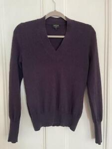 JAEGER Plum Purple Cashmere V-Neck Jumper Sweater Womens UK8  Small *PERFECT*