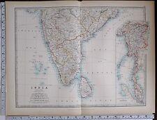 1903 Large Carte Inde Sud Feuille Ceylan Madras Mysore Supérieur Burma Bombay