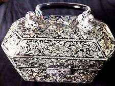 Vintage Asian Black Lacquer Wood Box Purse Inlaid w/ Mother of Pearl