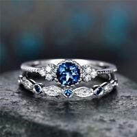 2PCS Cute 925 Silver Round Cut Sapphire Women Wedding Ring Jewelry Size 6-10