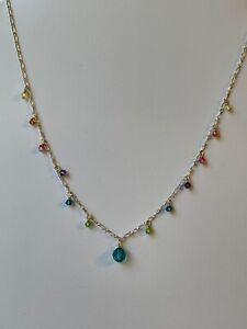 Vintage Holly Yashi Silver Rainbow Crystal Necklace