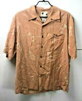 Mens Banana Cabana Island Shirt Medium Silk Peach Palm Tree Hawaiian Shirt