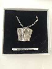 Accordian PP-M20 Emblem Silver Platinum Plated Necklace 18""
