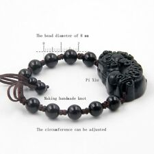 Lucky Pixiu Pi Xiu Black Green Jade Tibet Buddhist Prayer Beads Mala Bracelet