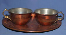 VINTAGE HAND MADE COPPER SET 2 COFFEE TEA CUPS AND TRAY