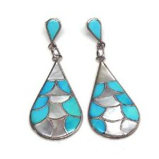 Zuni Sterling Silver Inlay Turquoise & Mother Of Pearl Inlay Post Earrings