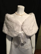 Large Ivory Faux Fur Stole Shawl Wrap Cape Shrug Bridal