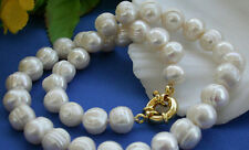 "Real 10-11MM Akoya White Natural Freshwater Cultured Pearl Necklace 18"" AAA"
