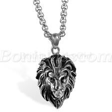 Men's Punk Rock Stainless Steel Cubic Zirconia Lion Head Pendant Necklace Chain