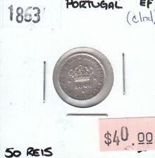 Portugal 50 Reis 1863 XF Extra Fine