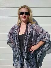 Plus Size Silk Kaftan Kimono Cape Top Beach Coverup Overlay Paisley 191 Green