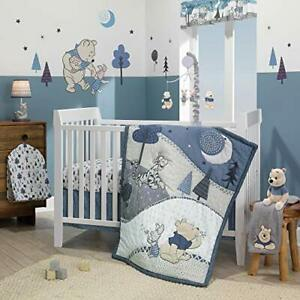 Lambs & Ivy Forever Pooh 3Piece Baby Crib Bedding Set Blue