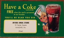 Coca Cola free Coke coupon with Sprite Boy for Myers Drug Store Hanover, PA NOS