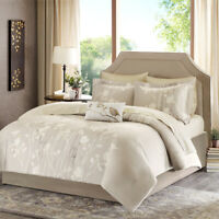 BEAUTIFUL CHIC BEIGE IVORY LEAF BED IN BAG COMFORTER SET & SHEETS KING & QUEEN