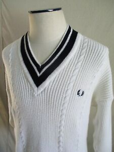Fred Perry vintage made England white blue V-neck tennis sweater XL