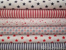 Patchwork-Paket ♥ 6 x Stoff 25x148  cm Stoff Baumwolle Karo ♥ Sterne blau rot