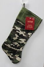GREEN CAMO CHRISTMAS STOCKING Camouflage Decoration Hunting Army Military NEW