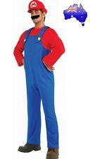 Mens Adult Super Mario Brothers Red Mario Fancy Dress Dress up Plumber Costume