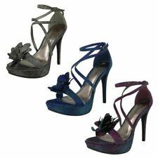 """Ladies Anne Michelle Flower Trim Heeled """"Sandals"""""""