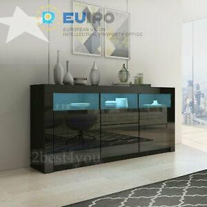 2 Türen 3 Schublade Sideboard Kommode Anrichte Highboard Hochglanz & Naturtöne