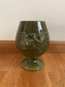 Vintage 1968 Atlantic Mold Green Eagle Vase - Ceramics American Americana