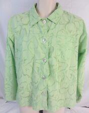 Denim & Co. Green Floral Semi Sheer Long Sleeve Blouse Shirt Women's Large J150