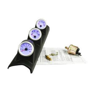 2'' 52mm Blue LED Triple 3 Gauge Kit Tachometer Water Temp Oil Press Gauge Meter
