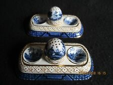ART DECO PAIR of BOOTH'S REAL OLD WILLOW PATTERN TABLE CRUETS Regd.no for 1928