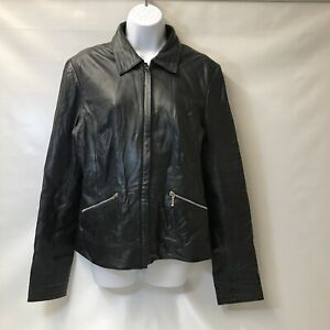 Black Long Tall Sally Leather Bomber Jacket Size 14