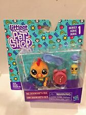 LITTLEST PET SHOP SERIES 1 #126-127 ROOSTER WITH BABY CHICKEN HARD TO FIND NEW