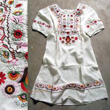 vtg 70s Mini Dress Floral Embroidered Boho Wedding Hippie White Puff Slv Top M L