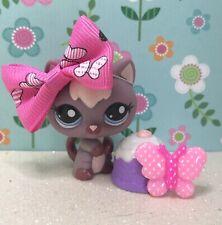 Authentic Littlest Pet Shop # 2285 Purple Plum Pink Kitten Blue Eyes w Bow