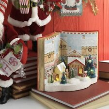 "RAZ Imports~11.5"" Lighted Peppermint Kitchen Gingerbread House Scene Book Decor"