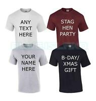 PERSONALISED T SHIRT CUSTOM PRINTED YOUR CUSTOM TEXT STAG HEN PARTY XMAS UNISEX